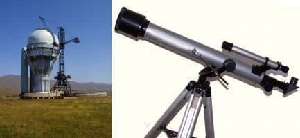 Telescopio de largo alcance y telescopio convencional
