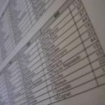 Tabla de Excel impresa.