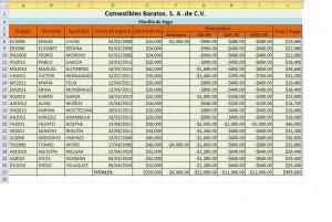 Hoja de pagos en Excel