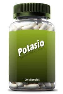 Frasco y pastillas de potasio.